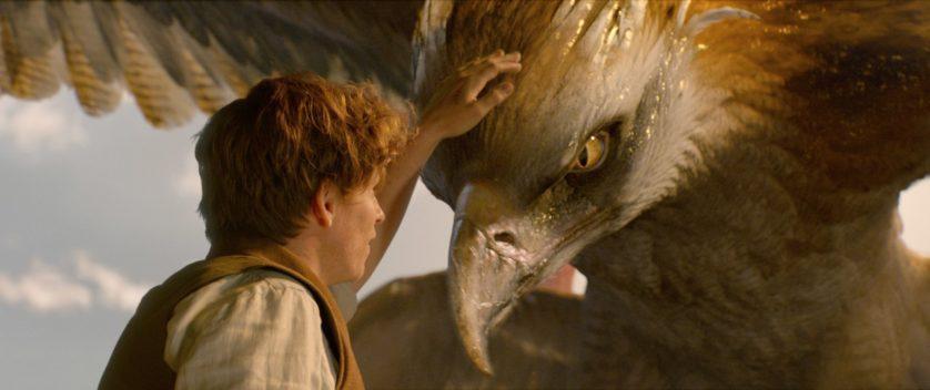 Newt com o thunderbird, criado especialmente para o filme
